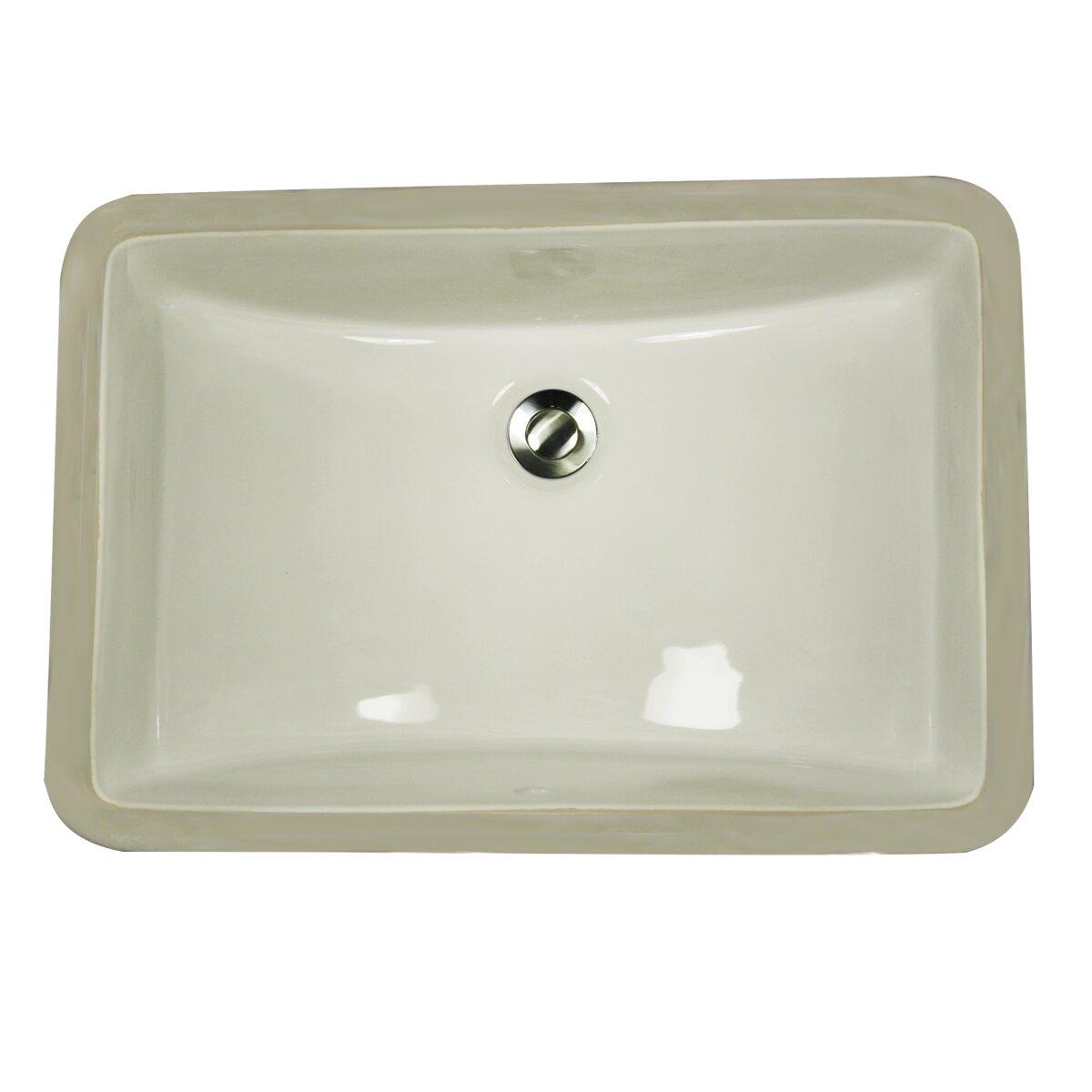 Nantucket Sinks Vitreous China Rectangular Undercounter Bathroom Sink