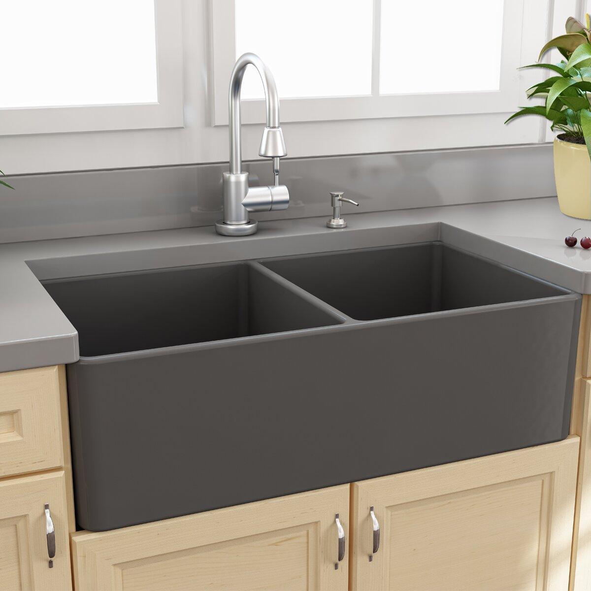 Laundry Double Sink : Nantucket-Sinks-33-Inch-Double-Bowl-Grey-Fireclay-Farmhouse-Sink-T ...