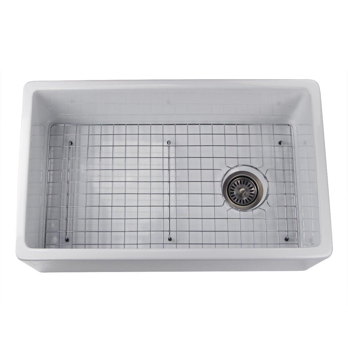"""Kitchen Sink Grid: 29.75"""" X 18"""" Fireclay Farmhouse Kitchen Sink Offset Drain"""