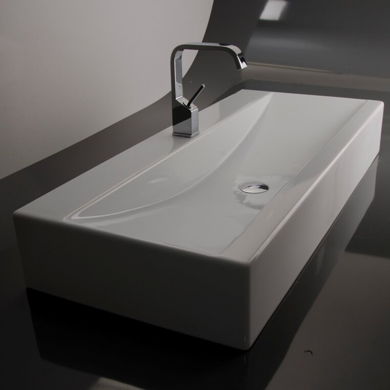 Sink Attached To Wall : WS Bath Collections Ceramica LVR Wall Mounted / Vessel Bathroom Sink