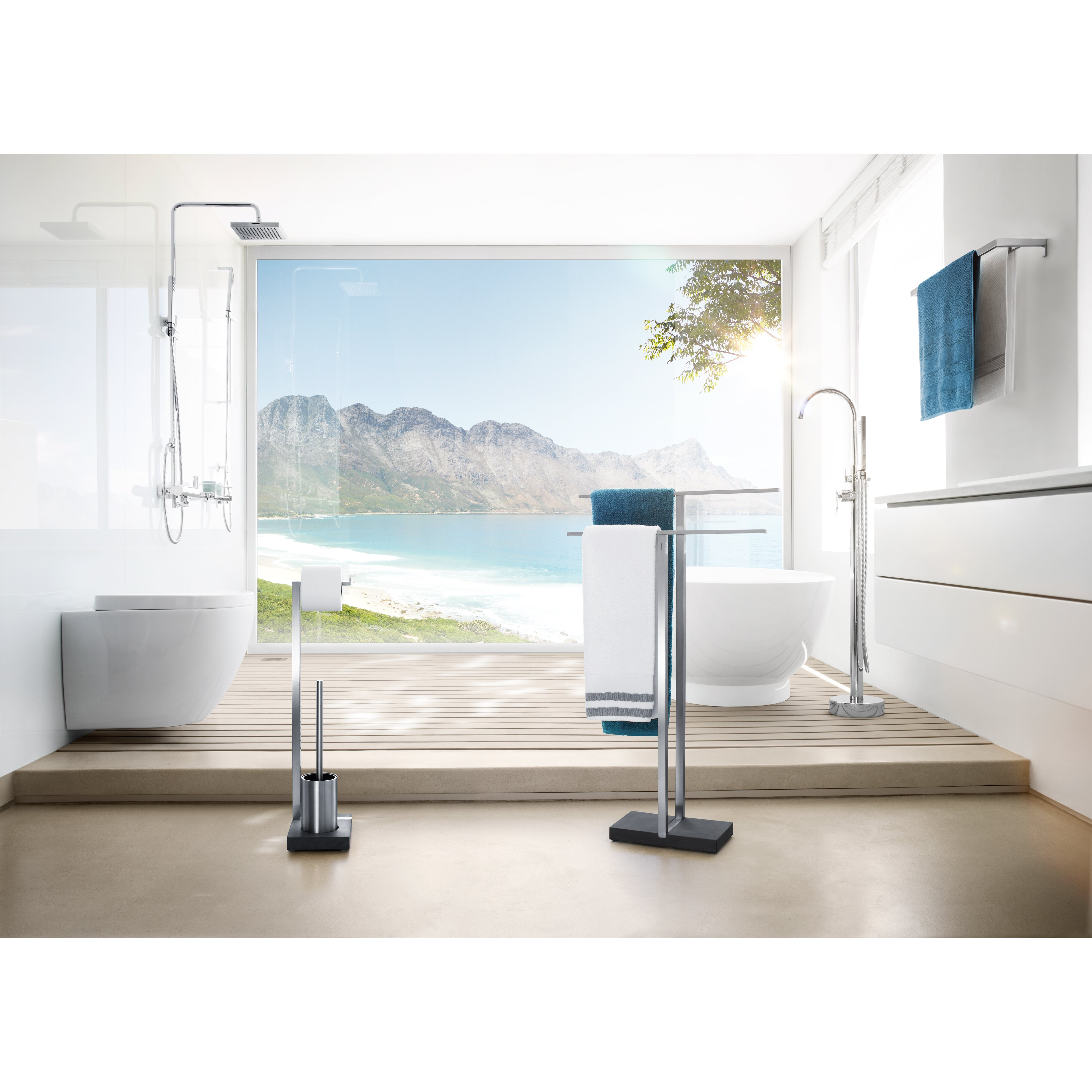 blomus menoto freestanding stainless steel matte towel. Black Bedroom Furniture Sets. Home Design Ideas