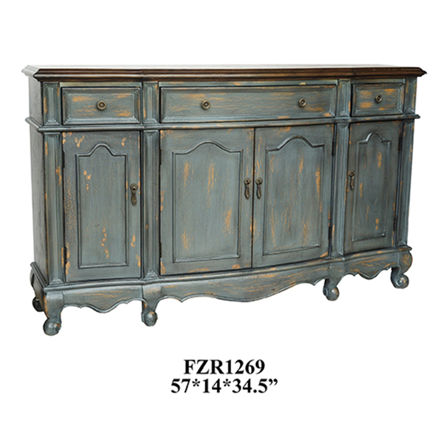 Chatsworth 3 Piece Traditional White Suite: Chatsworth 3 Drawer/4 Door Credenza