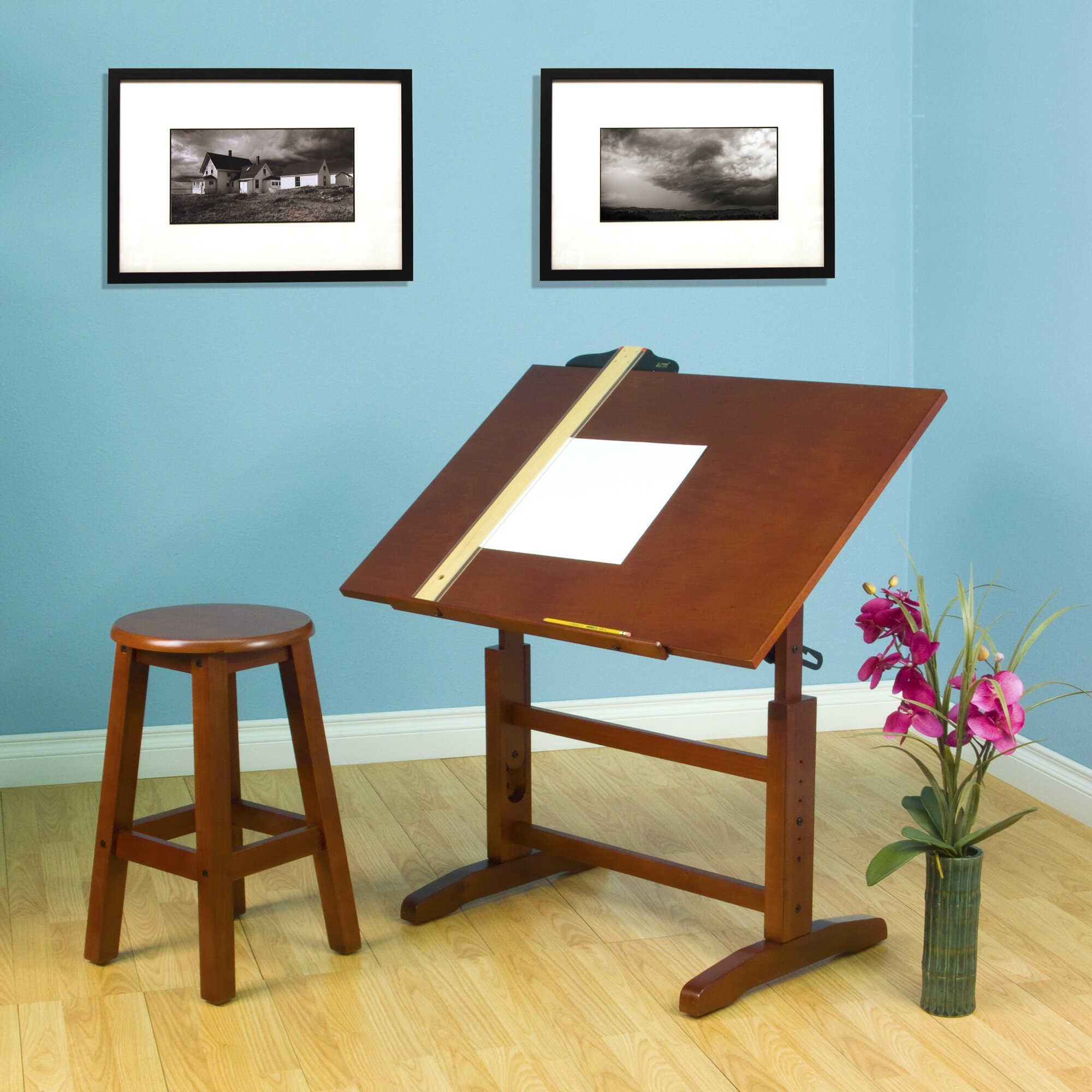 Creative Hardwood 36 Quot W X 24 Quot D Drafting Table And Stool Set