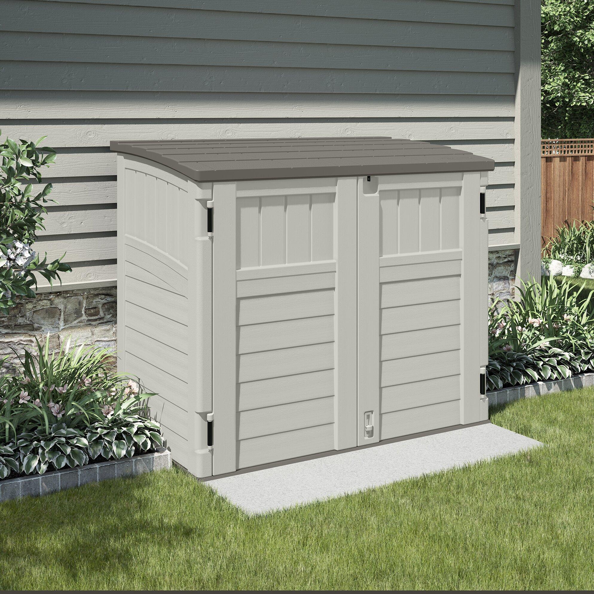 Suncast utility 4 ft w x 3 ft d plastic tool shed for Casetas de jardin de resina aki