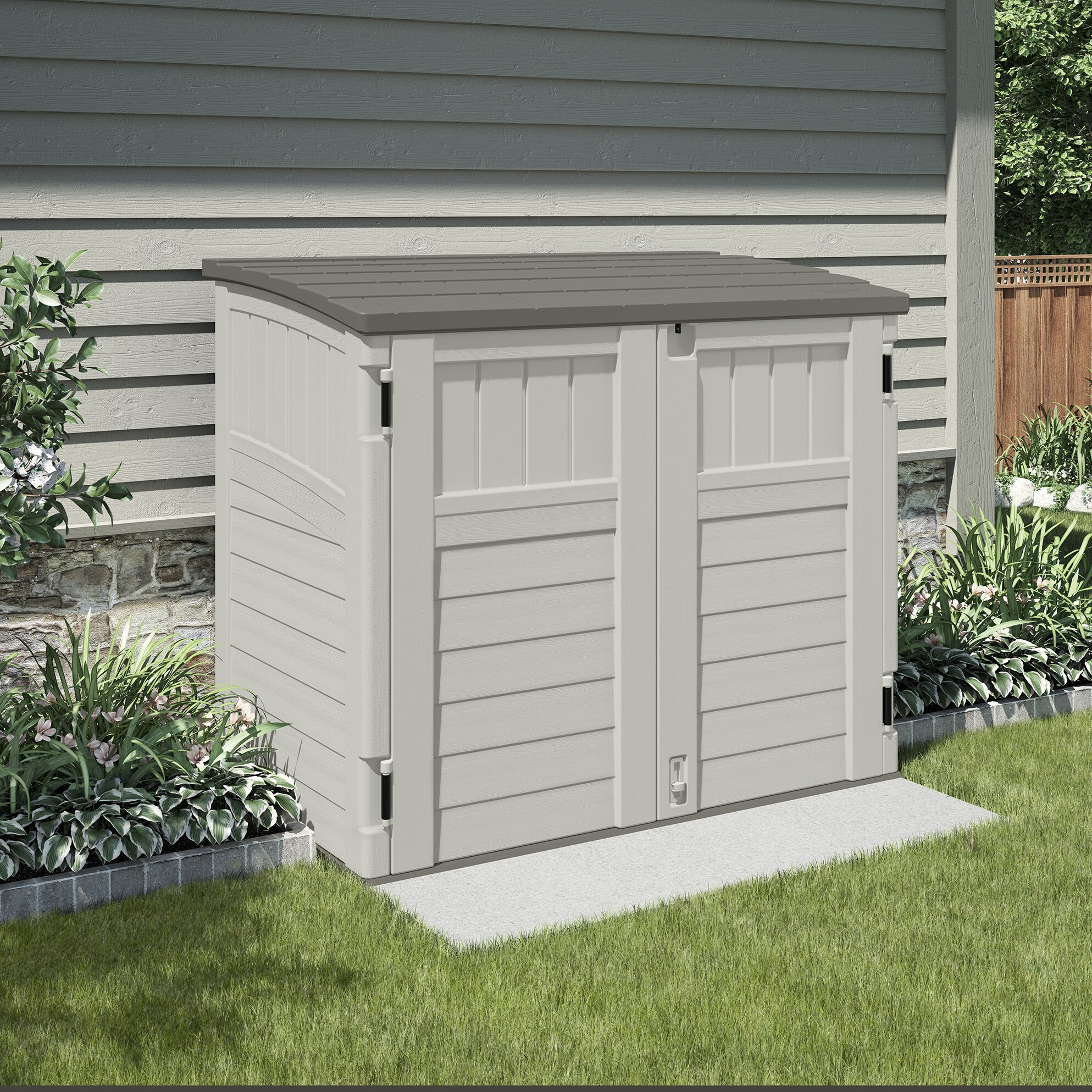 Suncast utility 4 ft w x 3 ft d plastic tool shed for Caseta jardin pvc