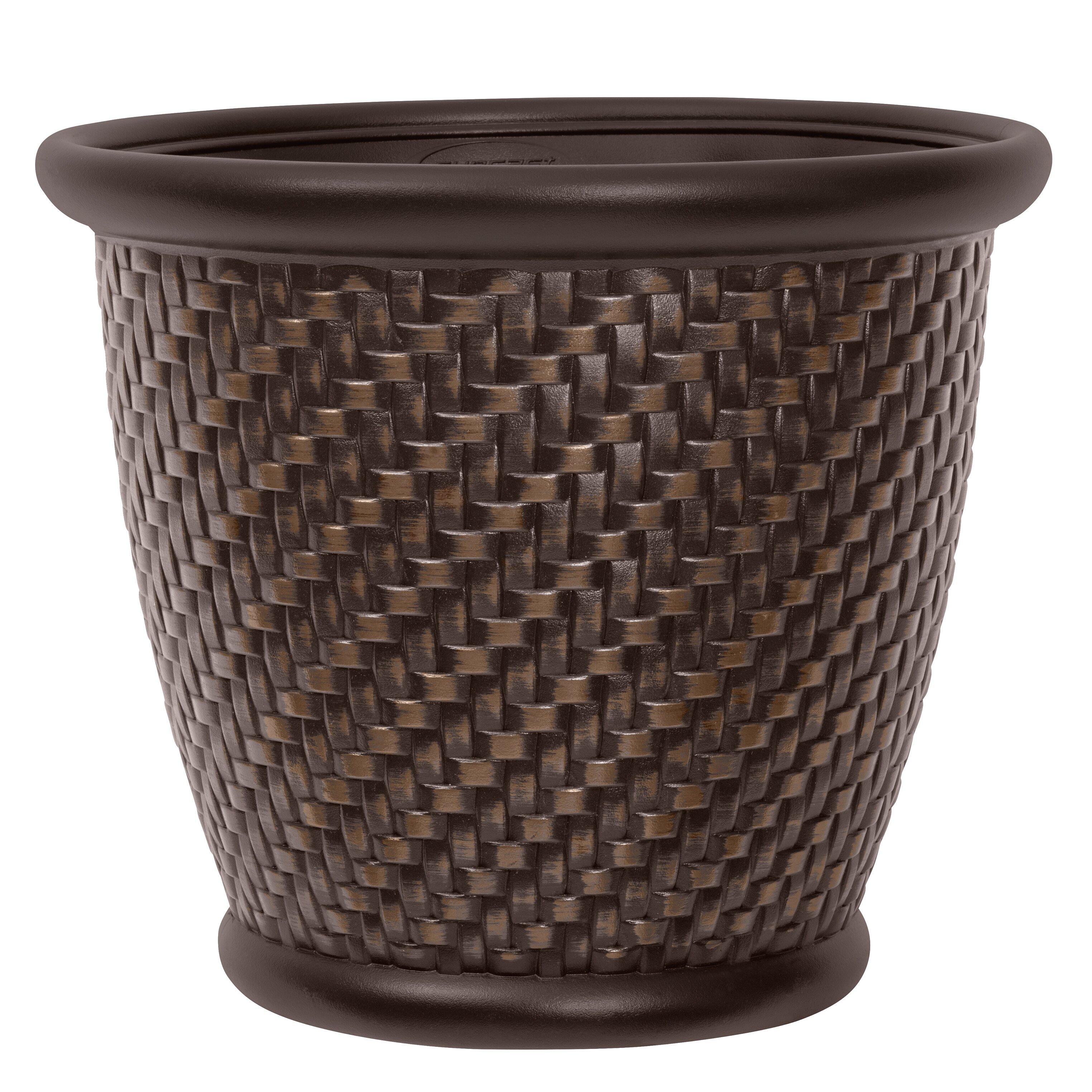 Suncast Herringbone Round Pot Planter Amp Reviews Wayfair