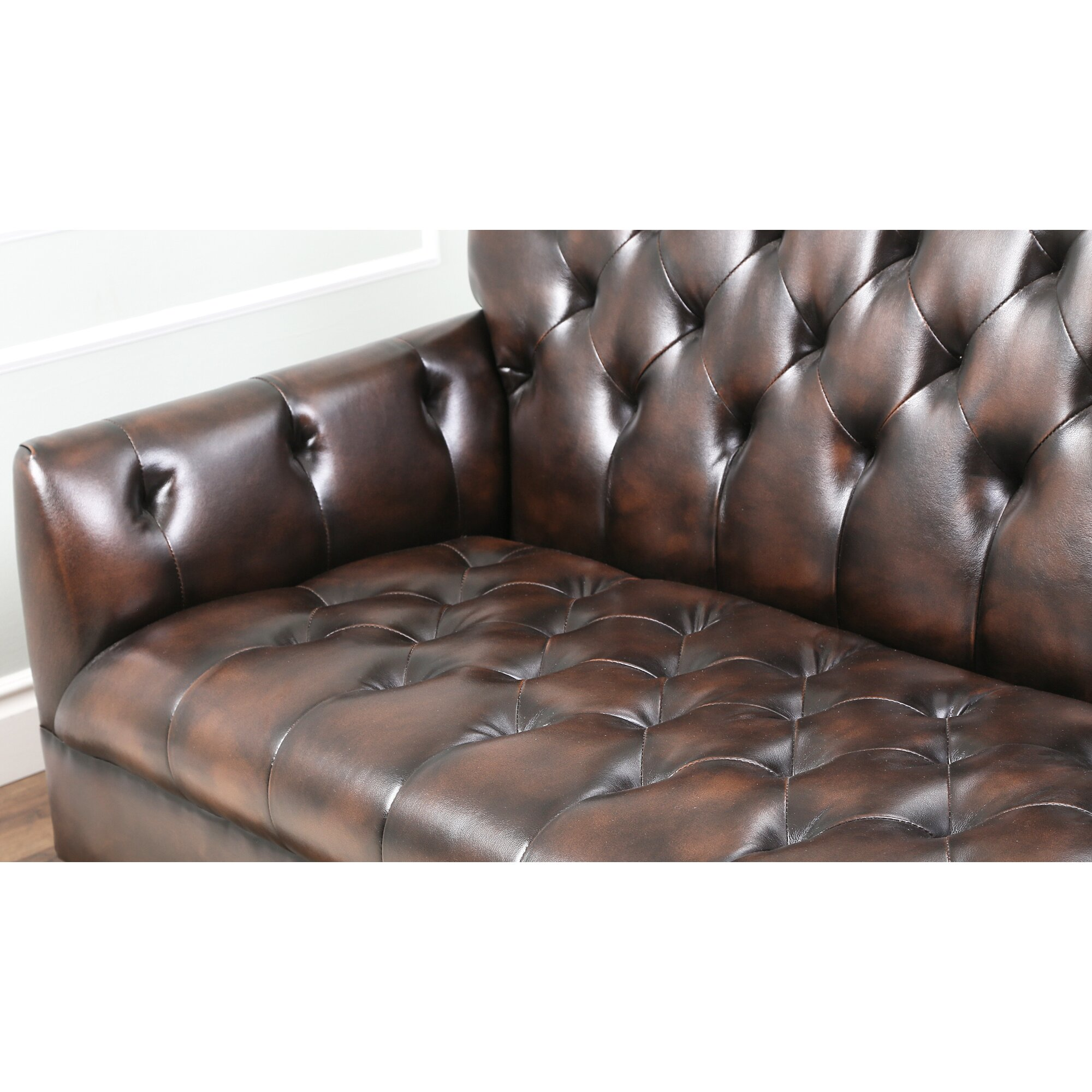abbyson living revello bonded leather sofa reviews wayfair
