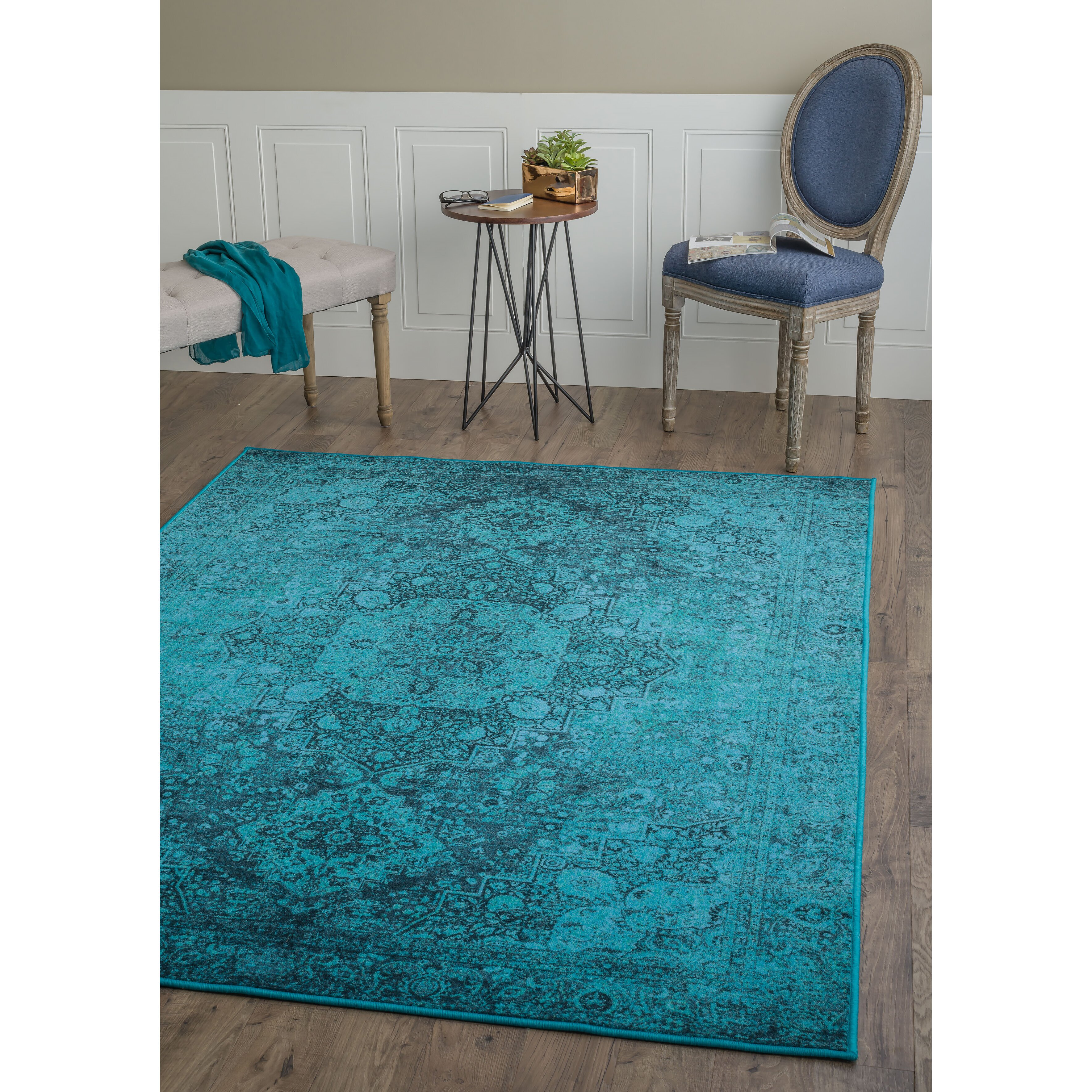 Teal Area Rug: Expressions Teal Area Rug
