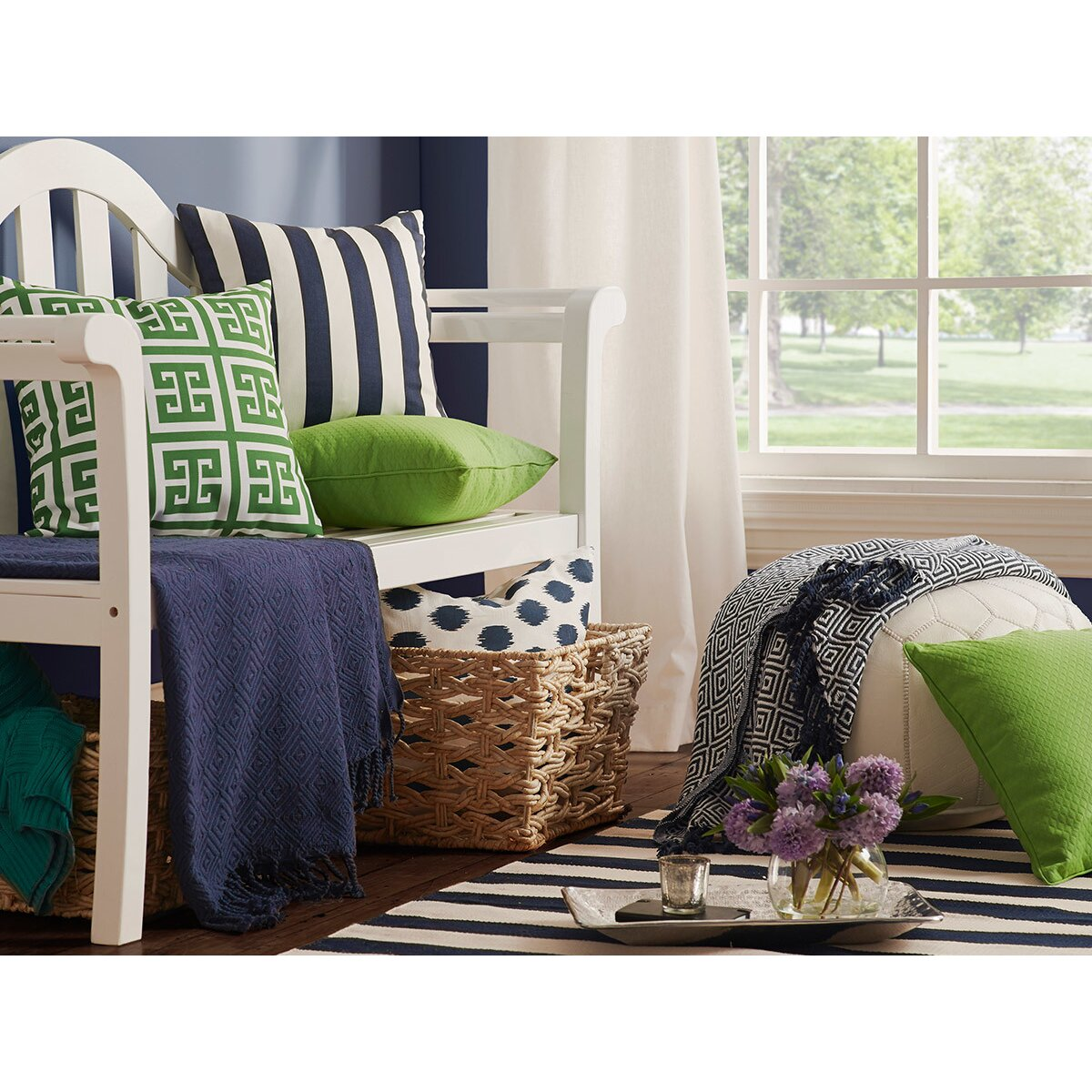 dash and albert rugs catamaran ivory navy striped area rug allmodern. Black Bedroom Furniture Sets. Home Design Ideas