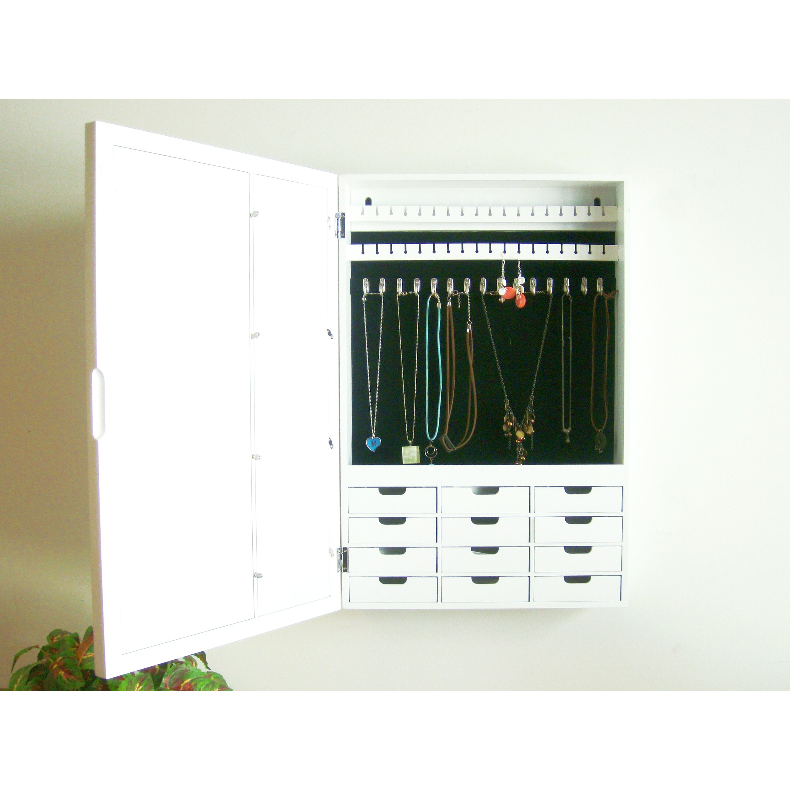 Proman Bellissimo Wall Mounted Jewelry Armoire with Mirror ...