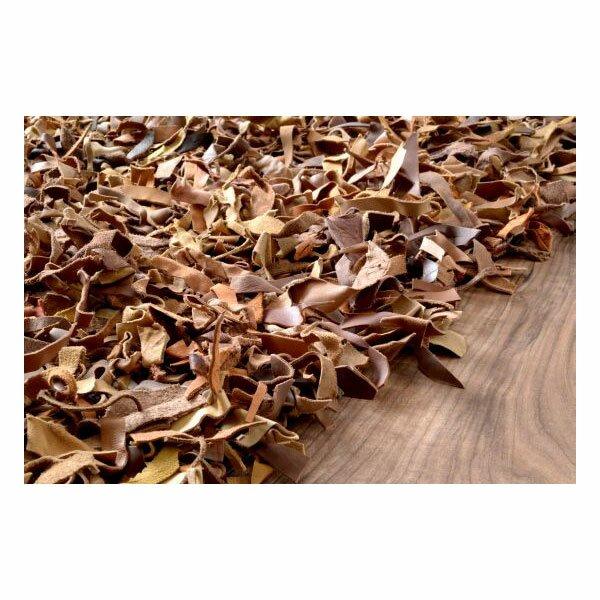 Leather Shag Dark Brown Area Rug