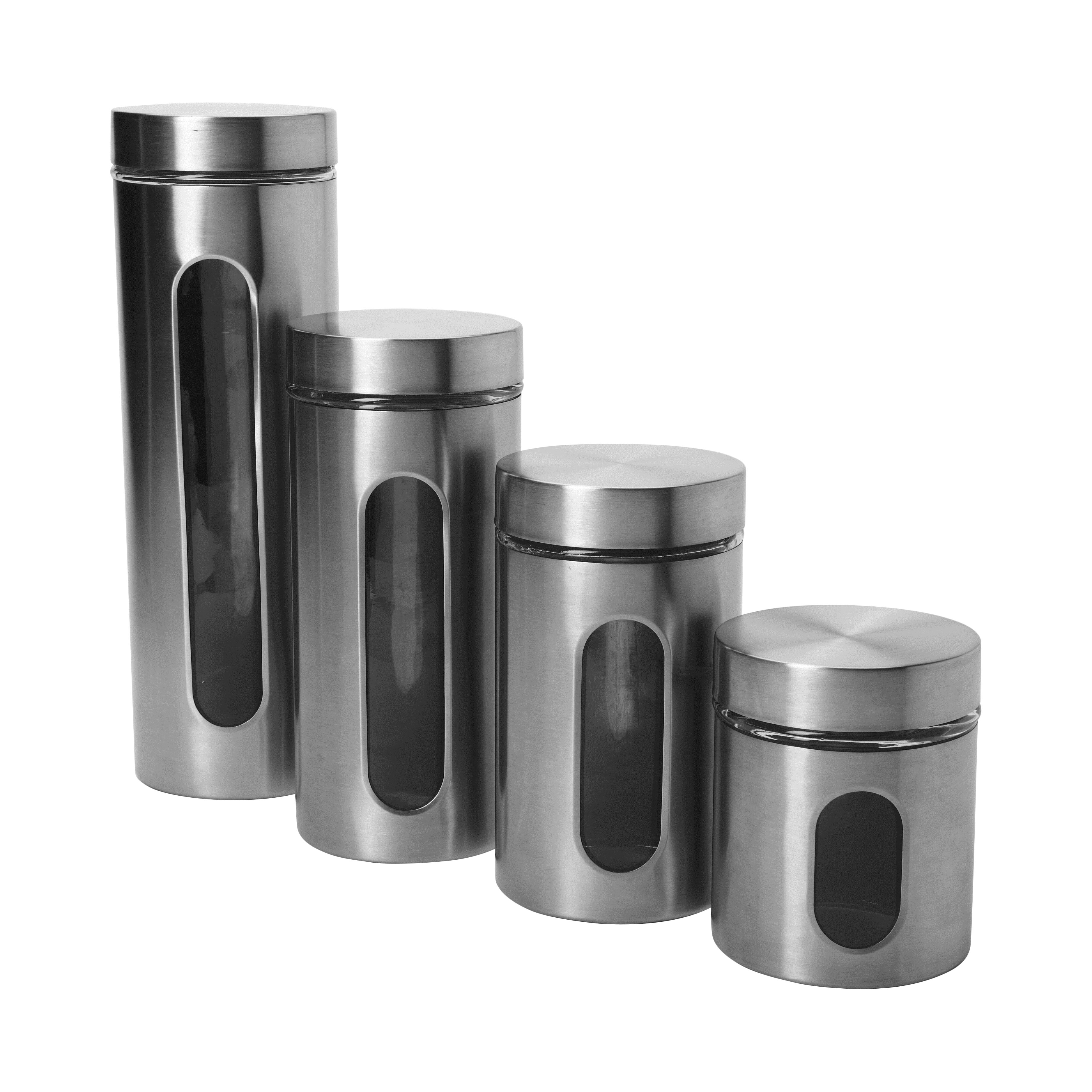 4 piece palladian window canister set wayfair casa cortes 3 piece fleur de lis glass canister set