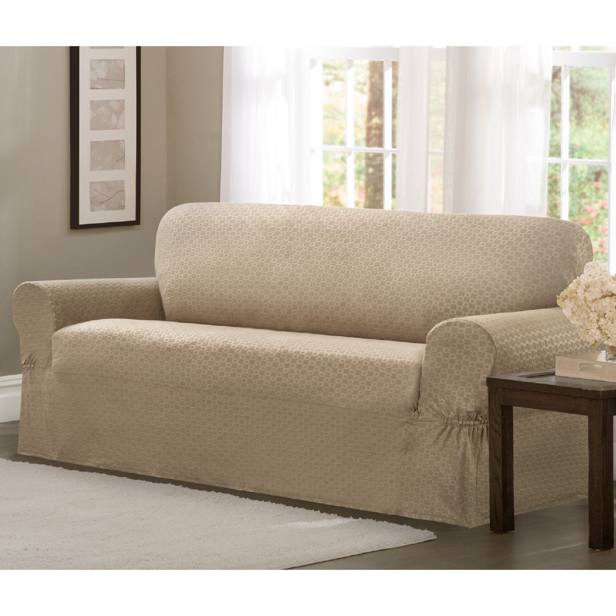 Conrad Stretch Loveseat T Cushion Slipcover Wayfair
