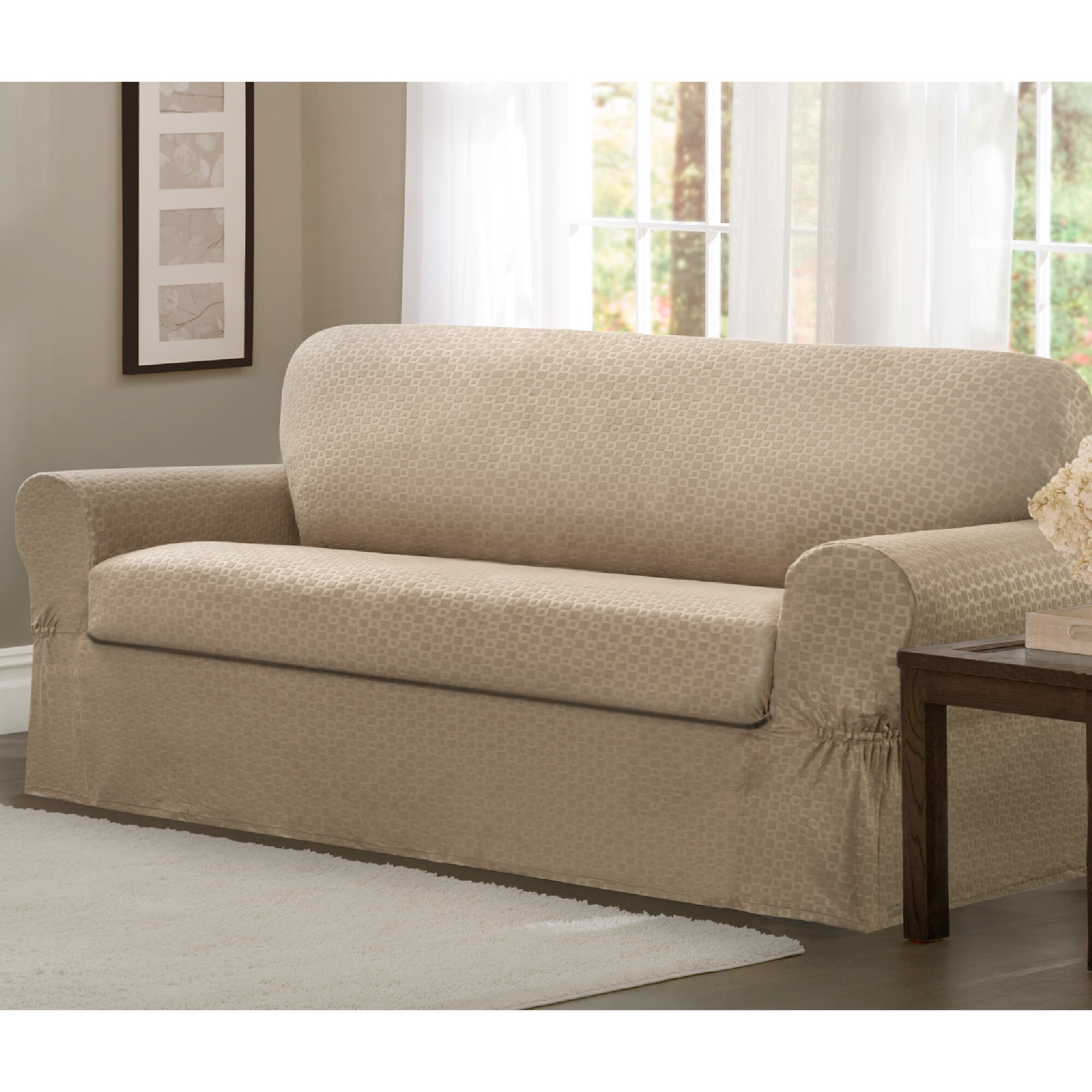 Conrad stretch 2 piece loveseat box cushion slipcover set wayfair Loveseat t cushion slipcovers