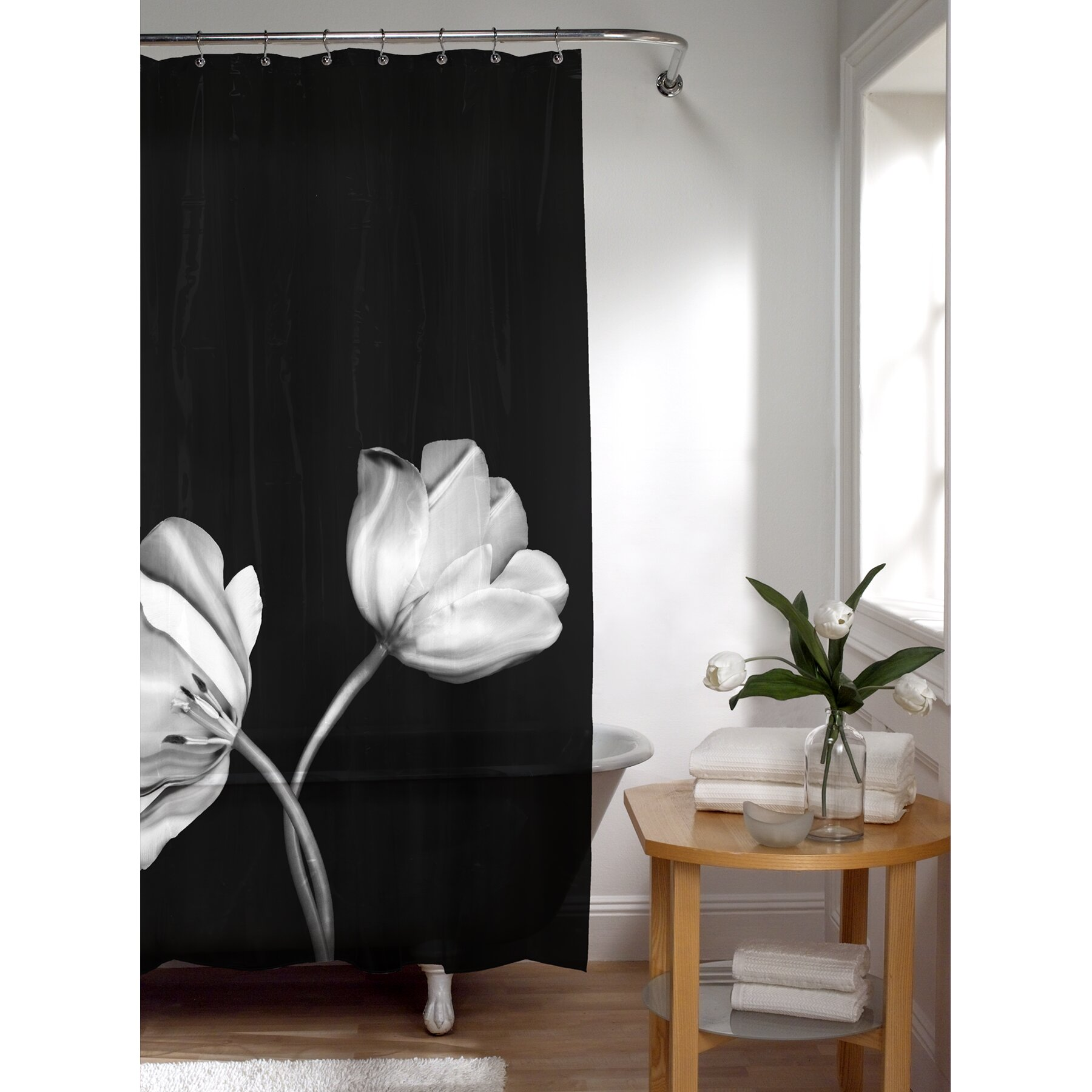 Style selections eva peva print multi fish shower curtain at lowes com - Peva Tulip Photoreal Shower Curtain Wayfair Mainstays