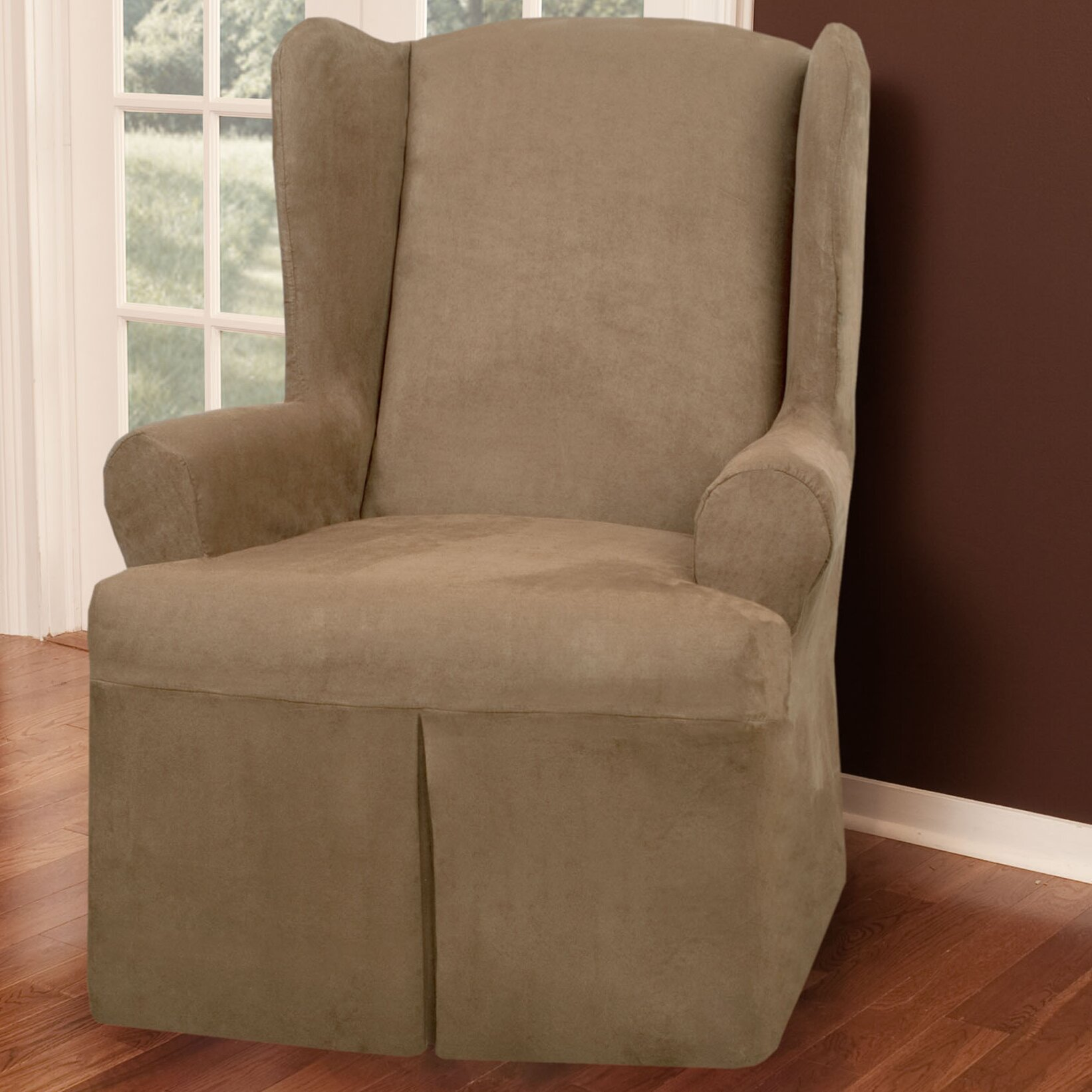 Faux Suede Wing Chair T Cushion Slipcover