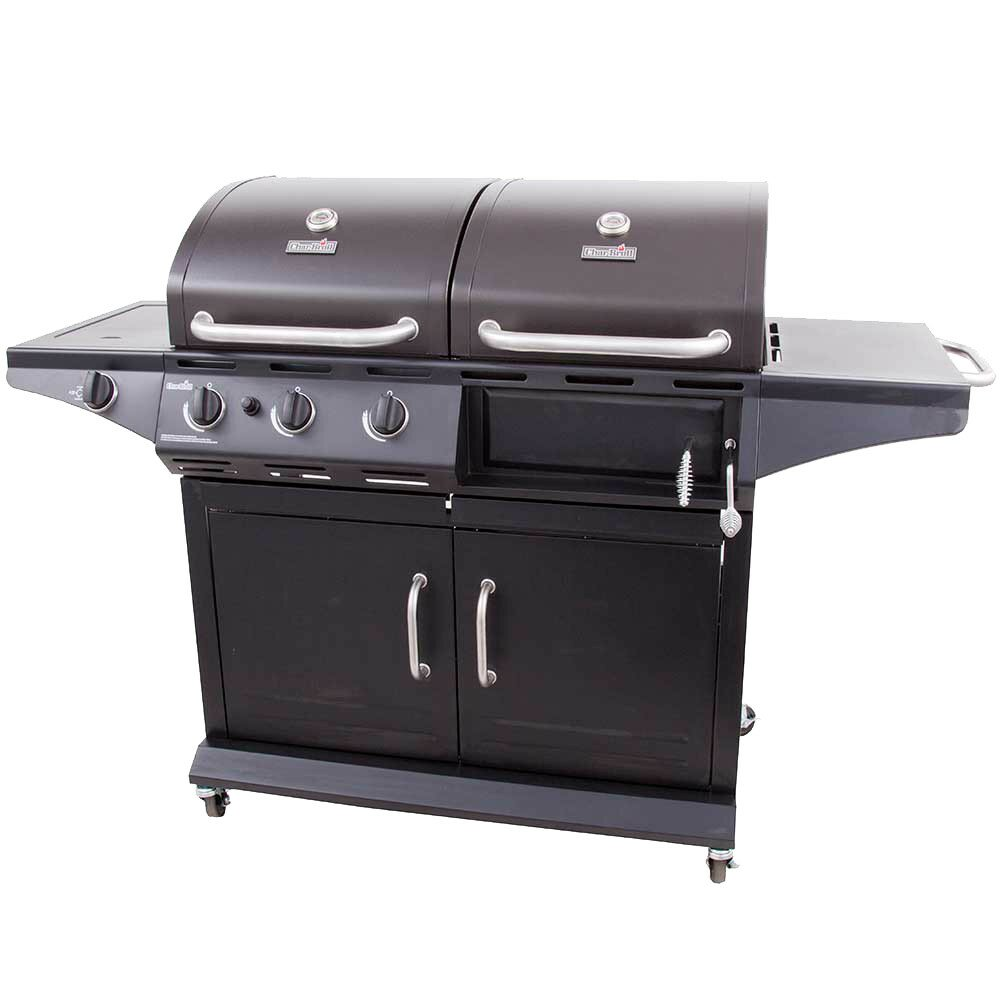 2-in-1 Charcoal and 3-Burner Gas Deluxe Combo Grill with ...