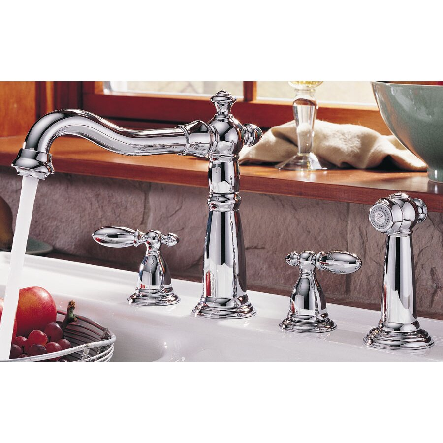 Aqueous Faucet Ballymore Victorian Double Handle Widespread Bathroom Faucet Reviews: Delta Victorian Double Handle Deck Mounted Kitchen Faucet With Spray & Reviews