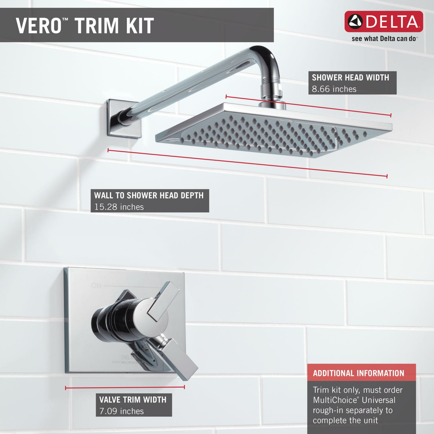 delta vero monitor 17 series shower faucet trim with lever handle