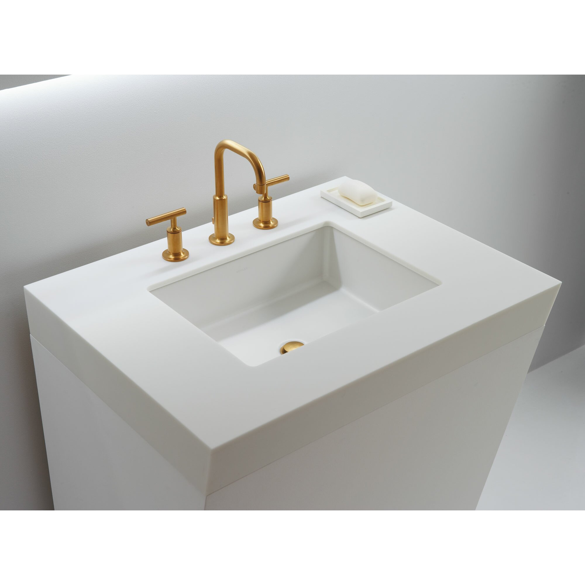 Verticyl rectangular undermount bathroom sink with for Bathroom undermount sinks