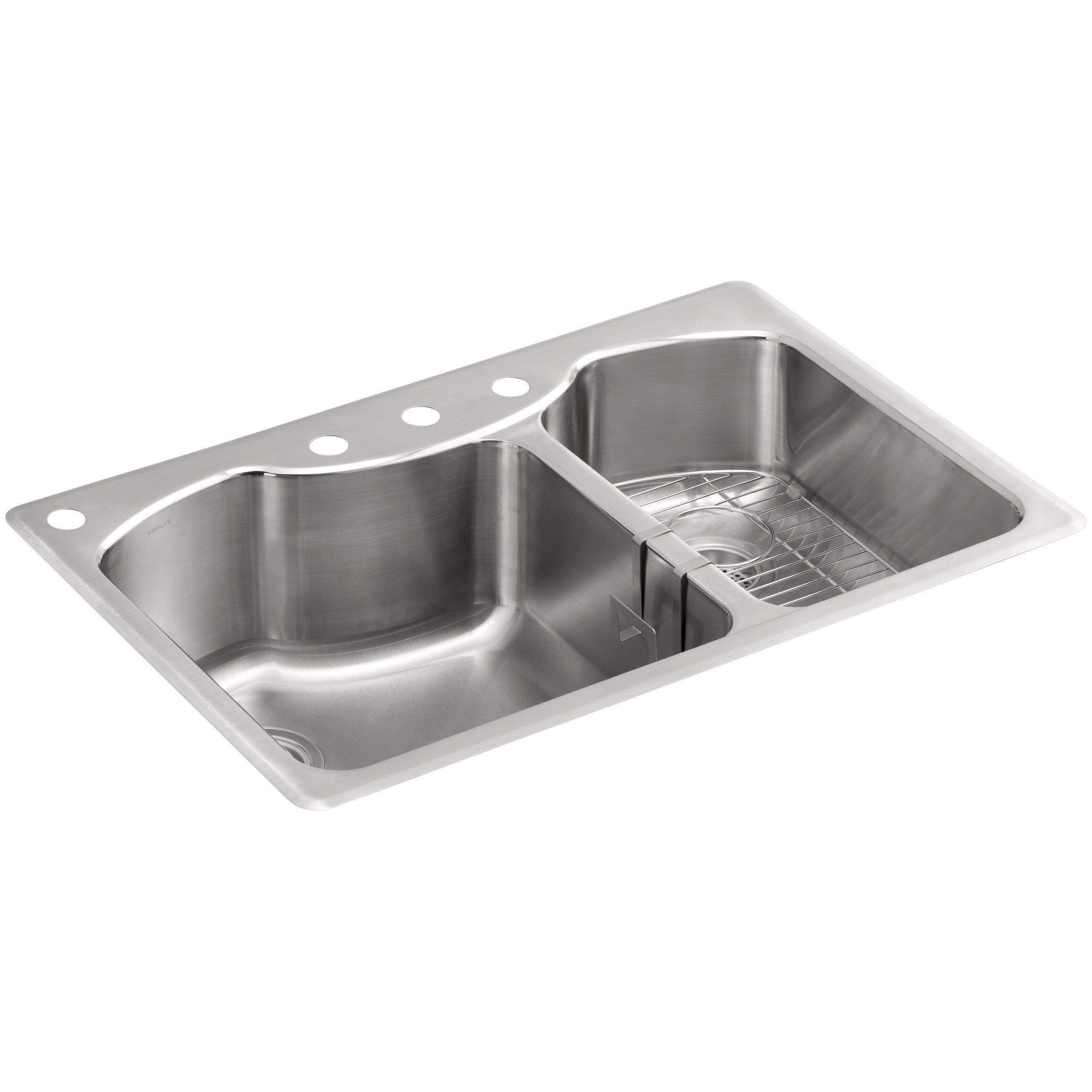 ... Top-Mount Large/Medium Double-Bowl Stainless Steel Kitchen Sink with