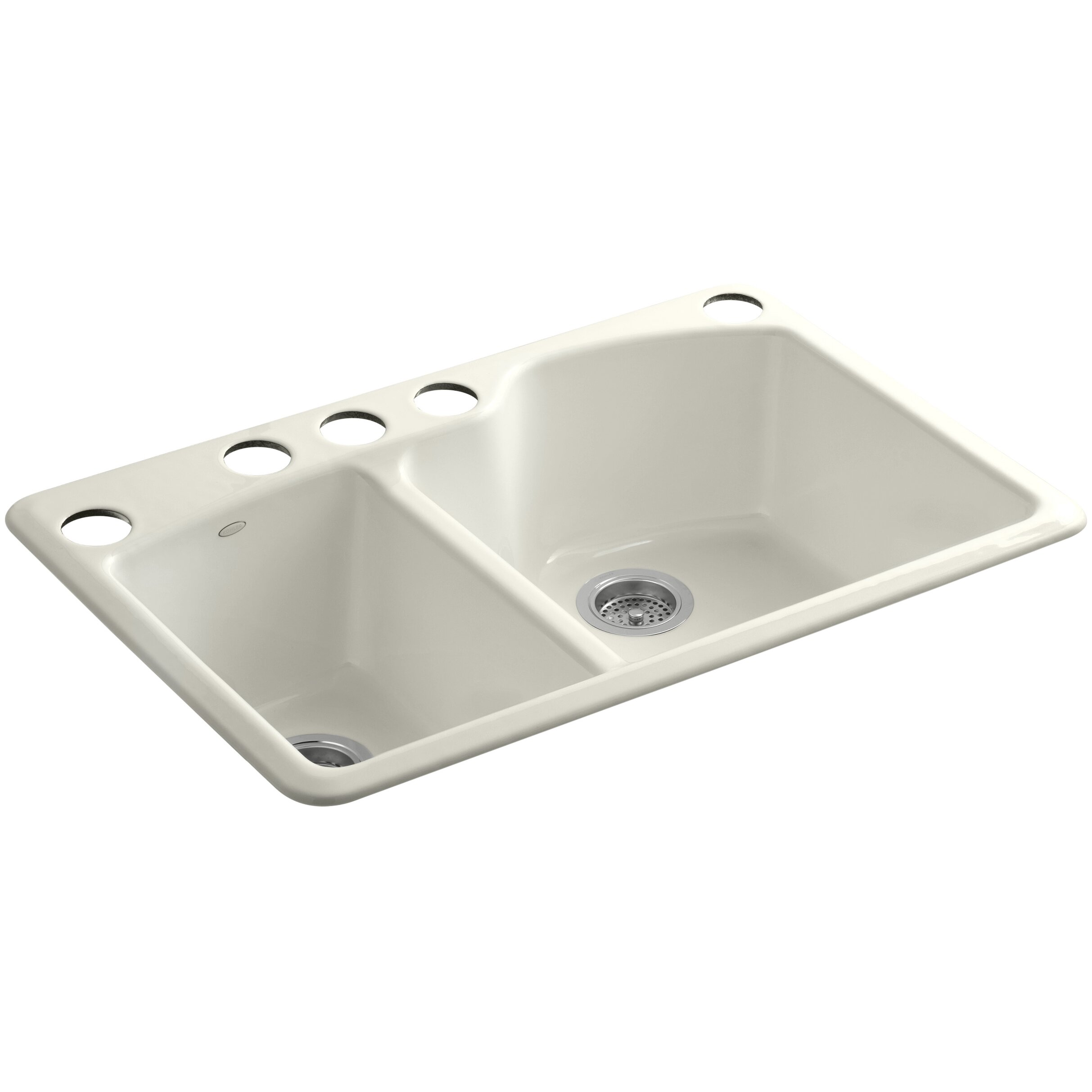 medium double bowl kitchen sink with oversize 5 faucet holes wayfair