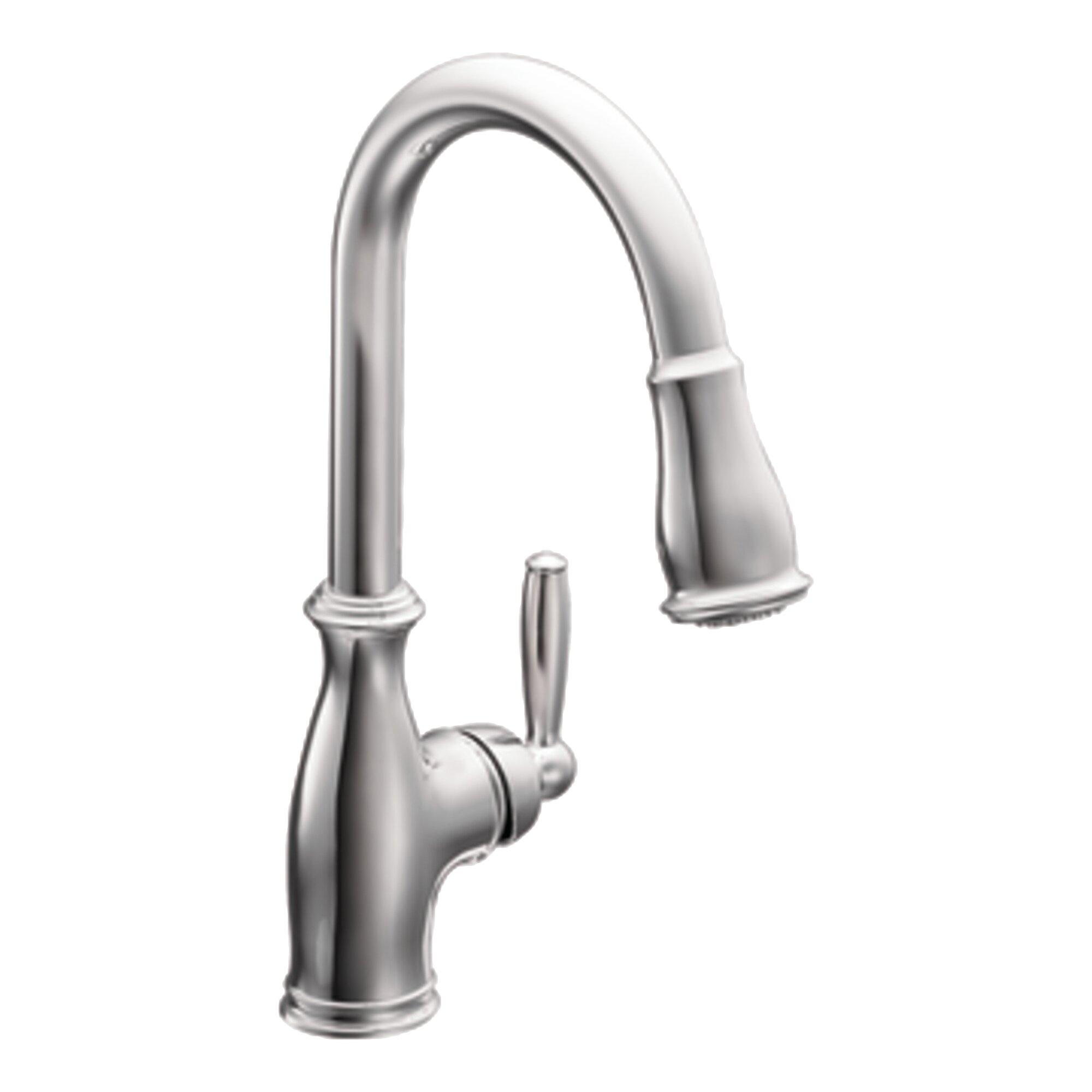 brantford single handle kitchen faucet wayfair 7295c moen brantford series one handle pullout chrome