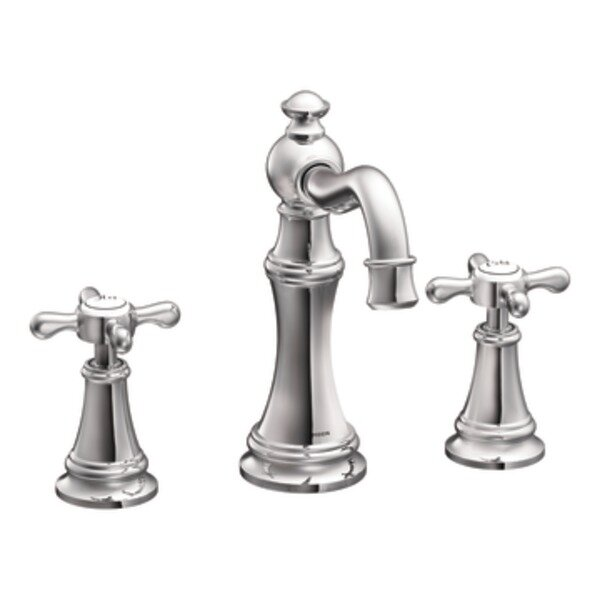 Moen Weymouth Double Handle Widespread High Arc Bathroom Faucet with ...