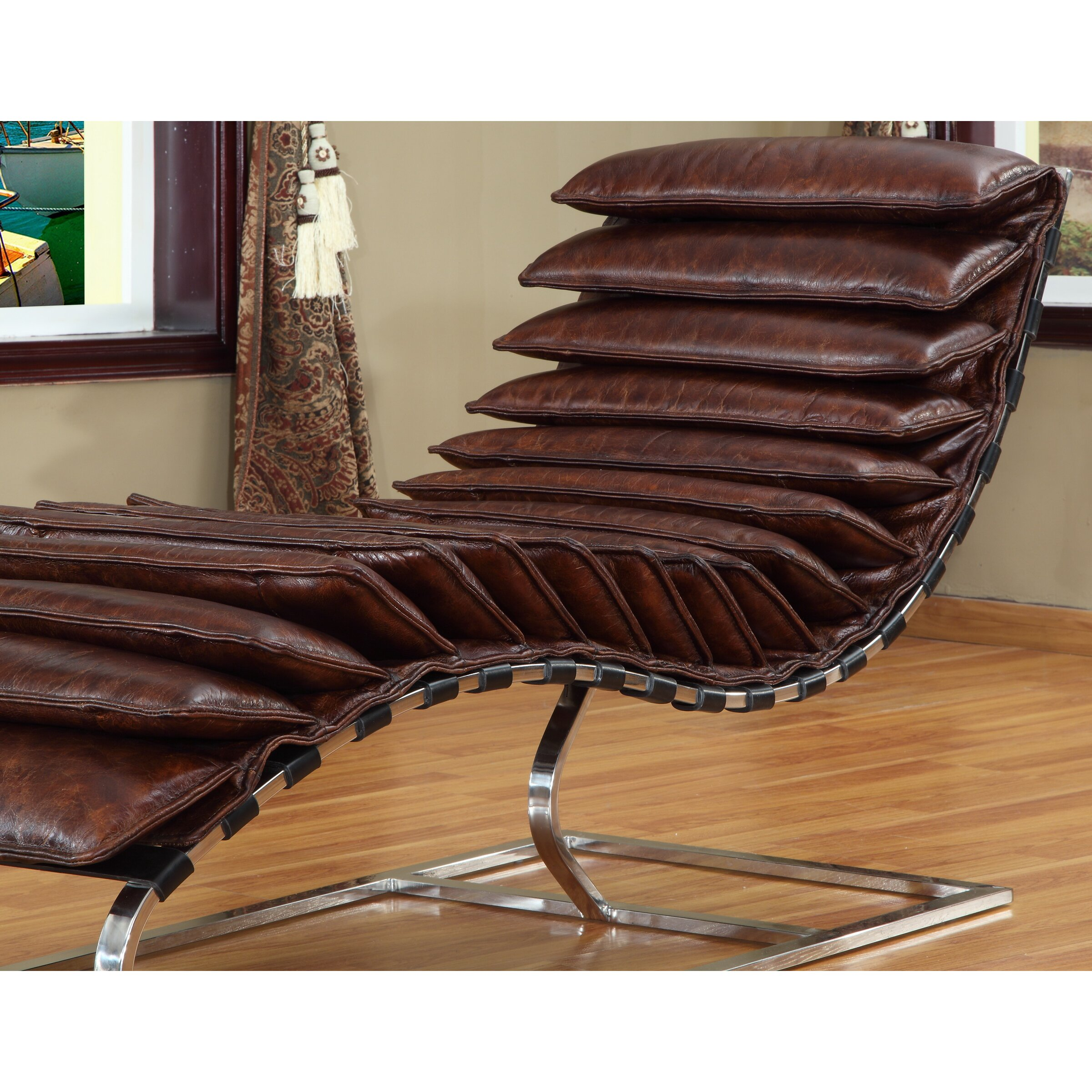 Rino leather chaise lounge wayfair for Chaise leather lounges