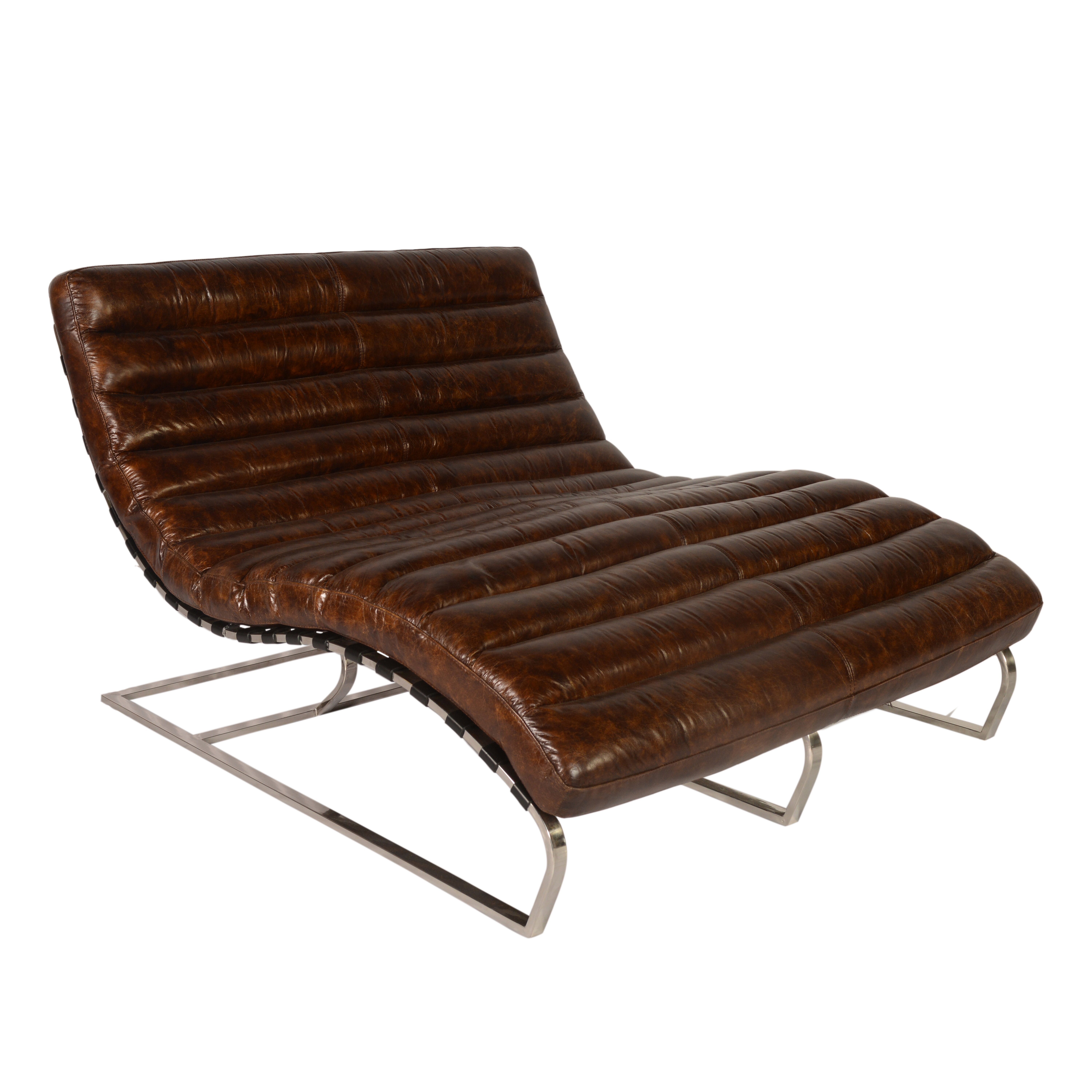 Perici leather double chaise lounge wayfair for Bellagio leather chaise lounge
