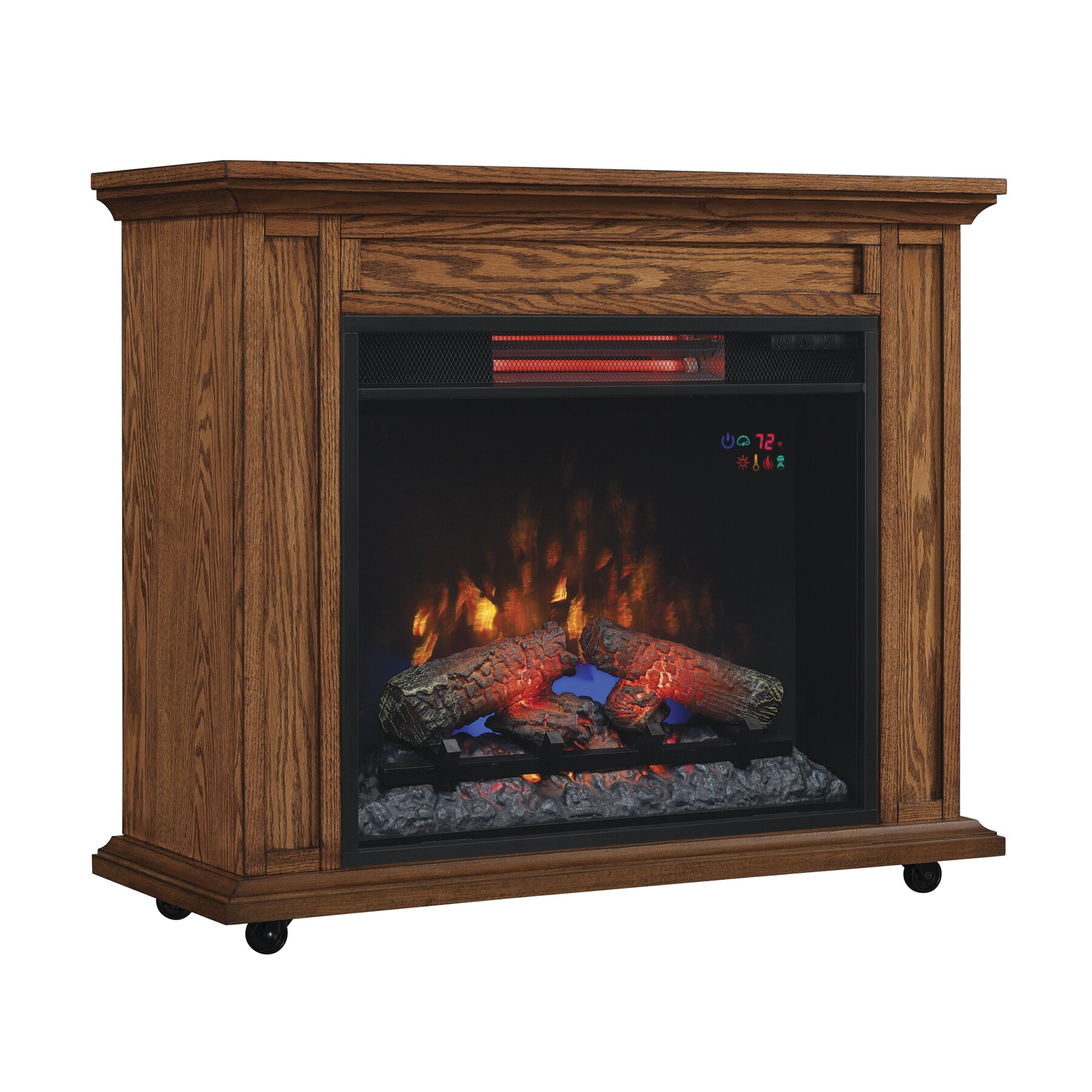 Rolling Mantel With Infrared Quartz Electric Fireplace Wayfair