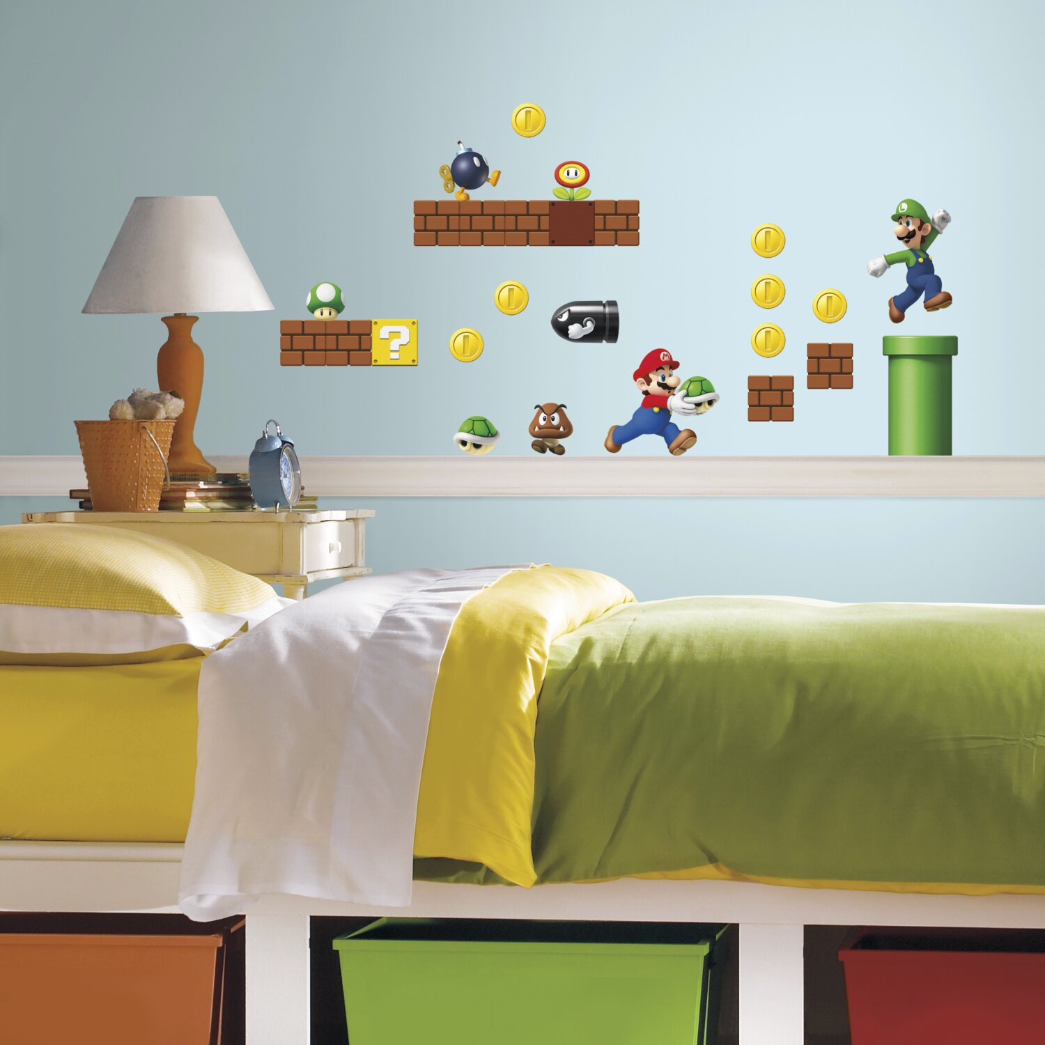 nintendo 45 piece super mario wall decal wayfair wallstickers adesivi da parete super mario bros pupazzi