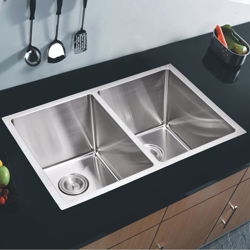 Kitchen Sink Double : Kitchen Sinks Water Creation Part #: SSSG-U-3118A SKU: YWC1363