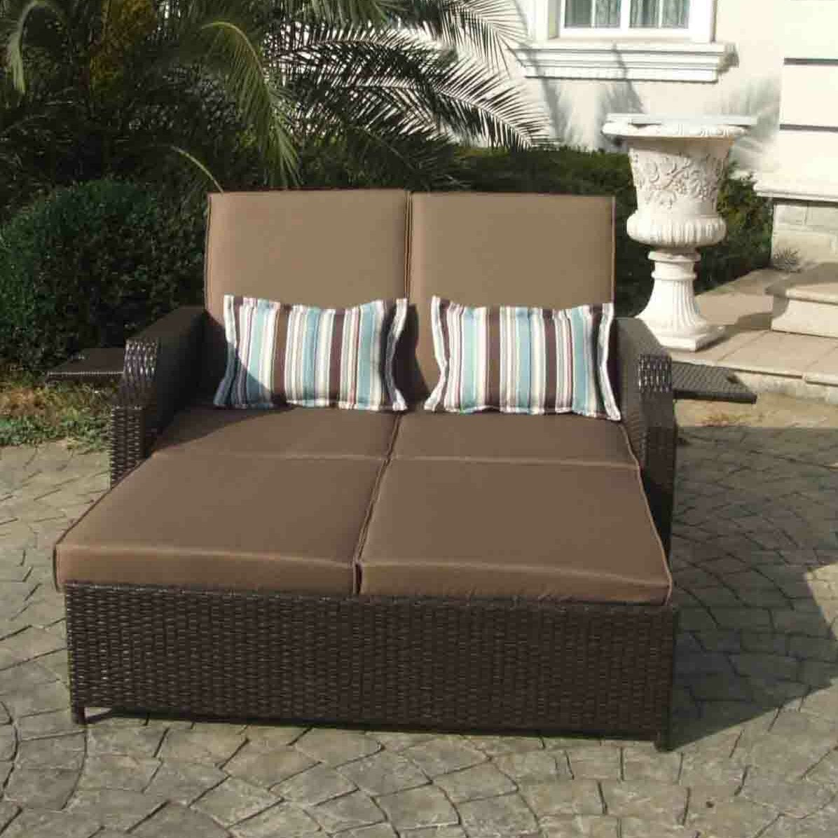Double chaise lounge with cushions wayfair for Chaise double lounge