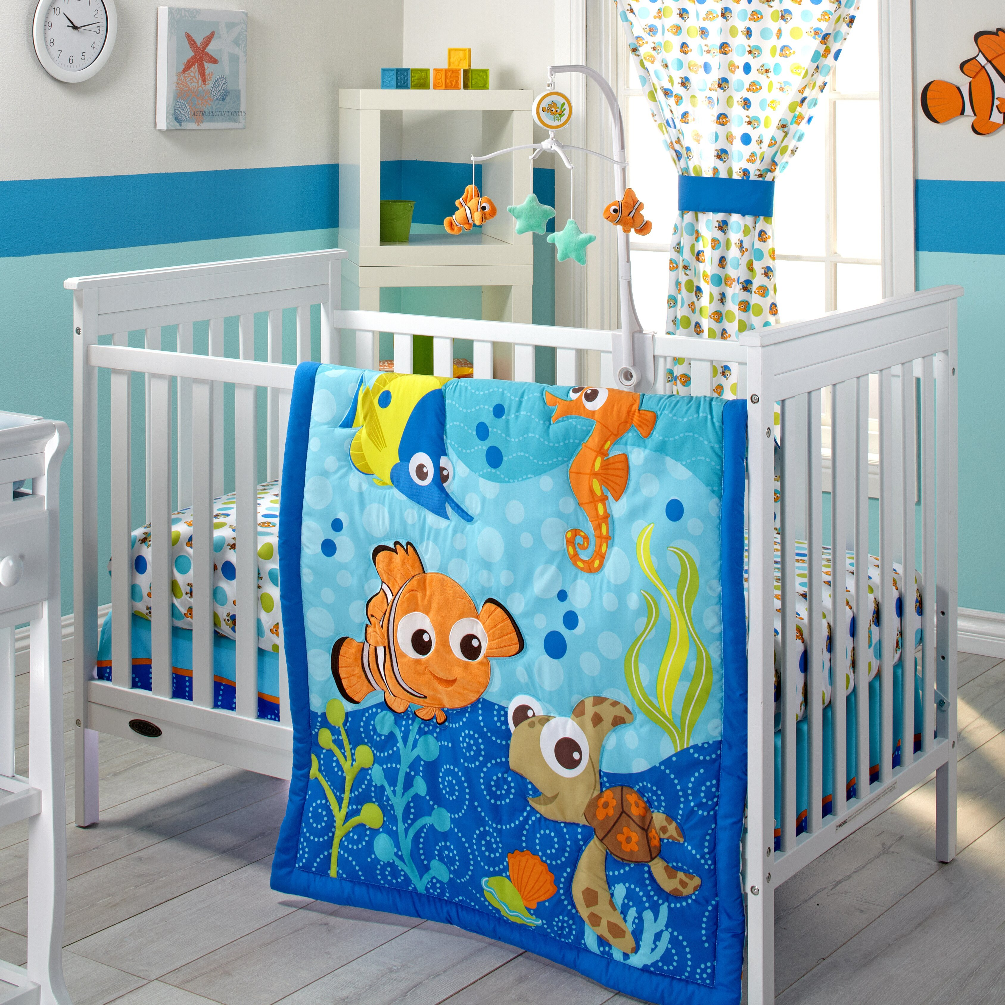 Nemo s reef 4 piece crib bedding set disney baby - Bedding Disney Pixar Finding Nemo Piece Crib Bedding Set Babies R Us