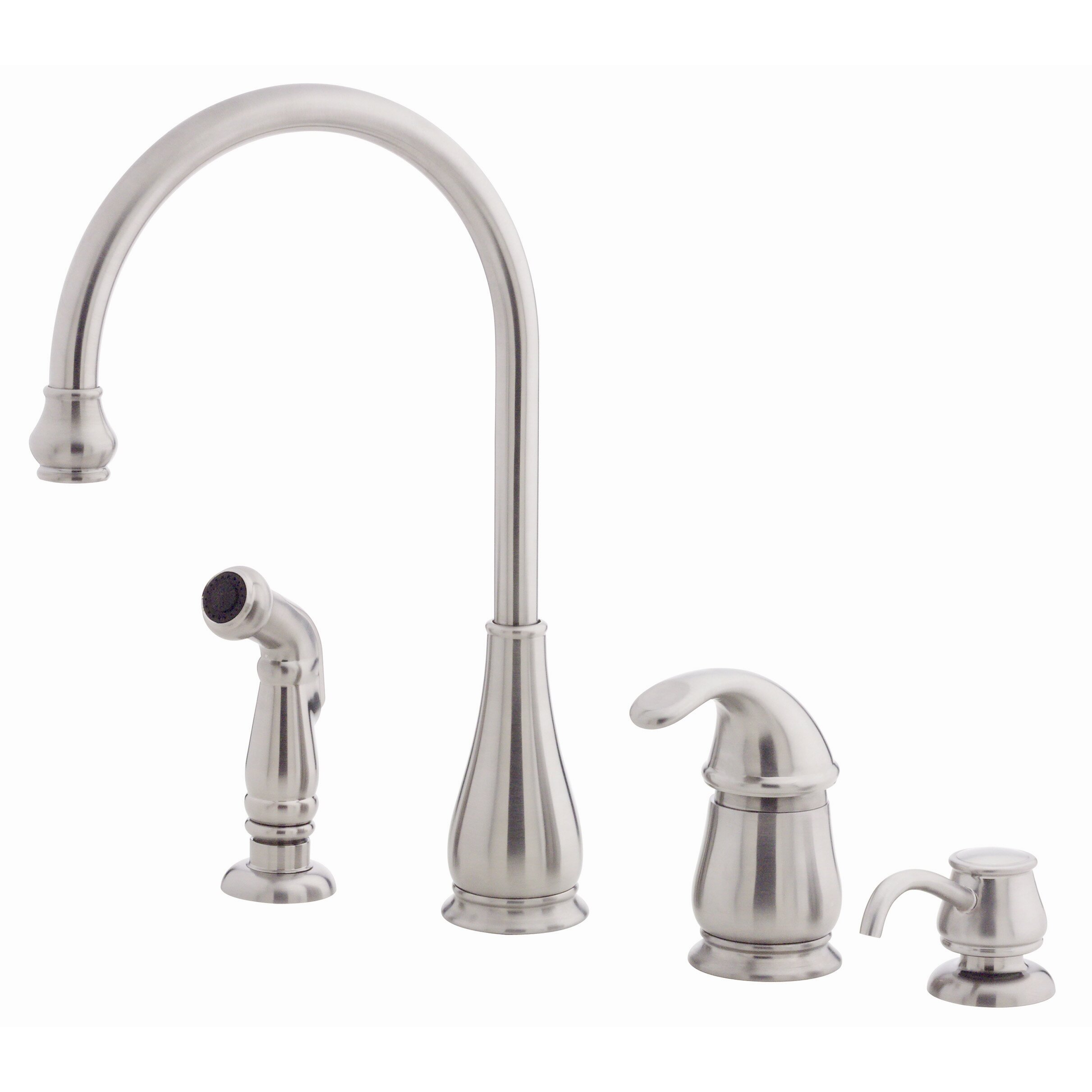 one handle kitchen faucet with side spray and soap