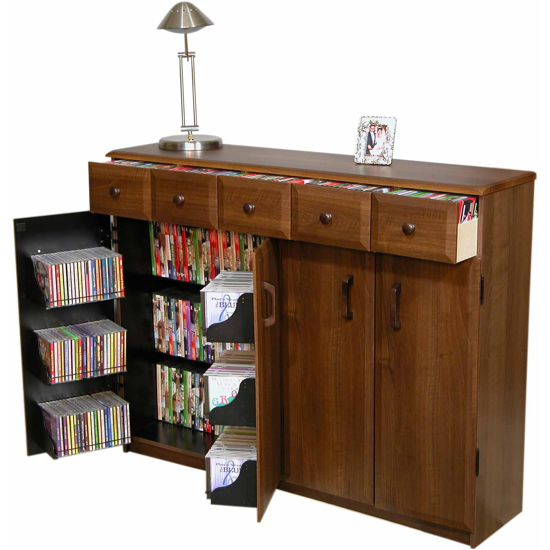 Vhz Entertainment Multimedia Cabinet With Library Style