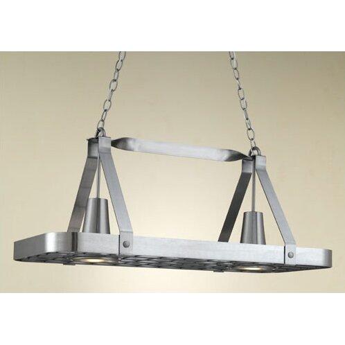Sterling Rectangular Hanging Pot Rack with 2 Lights | Wayfair
