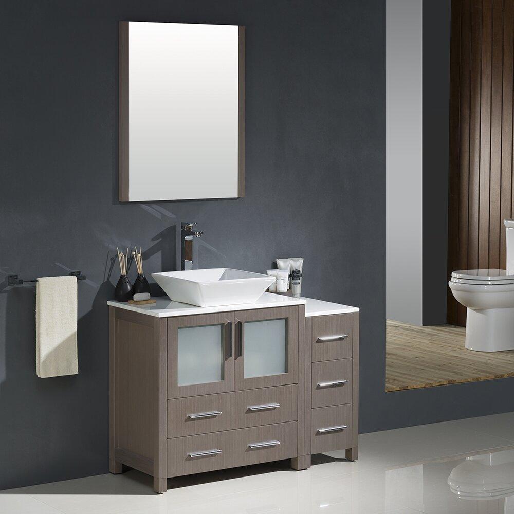 42 gray oak modern bathroom vanity w side cabinet and vessel