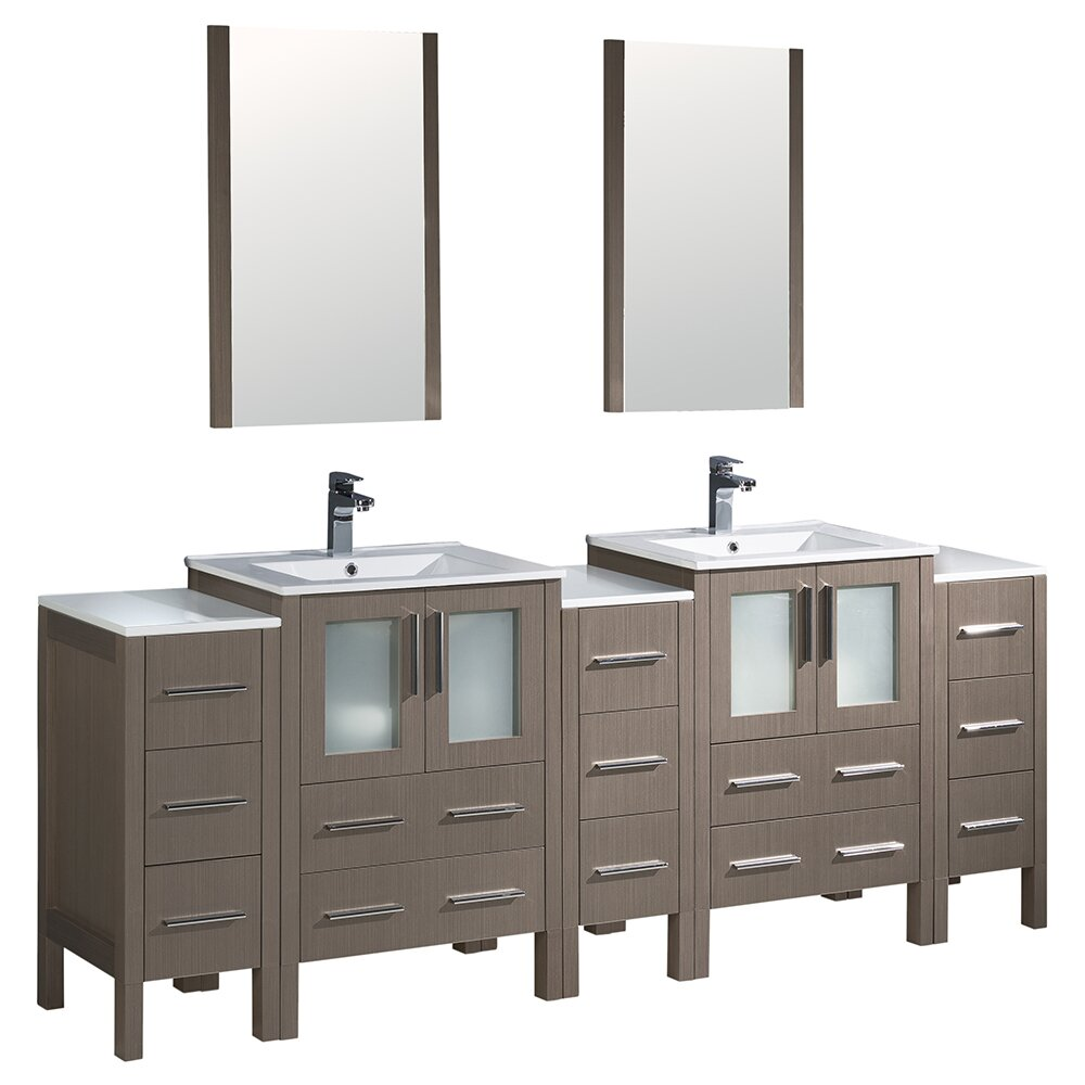 Torino 84 double modern bathroom vanity set with mirror - Modern double sink bathroom vanities ...