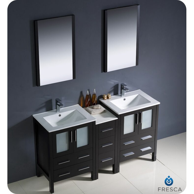 sink bathroom vanity set with side cabinet and undermount