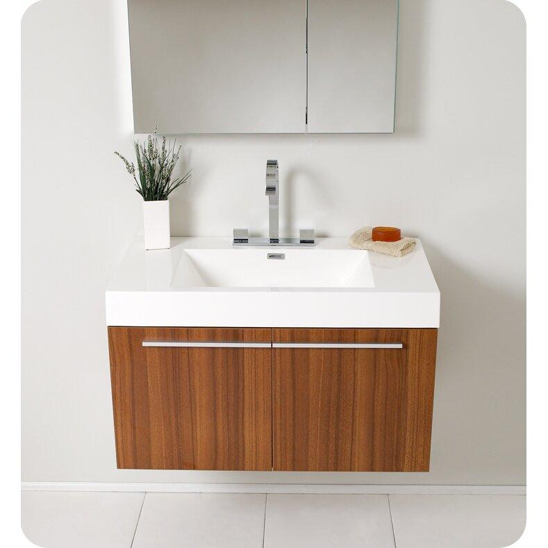 Senza 36 Single Vista Modern Bathroom Vanity Set With Mirror Wayfair