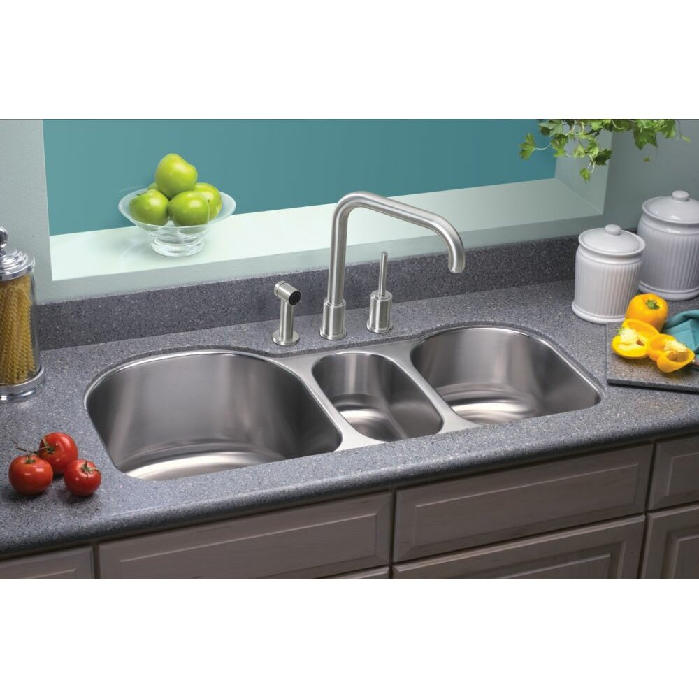 3 bowl kitchen sinks lustertone 39 5 quot x 20 quot undermount bowl kitchen sink 3853